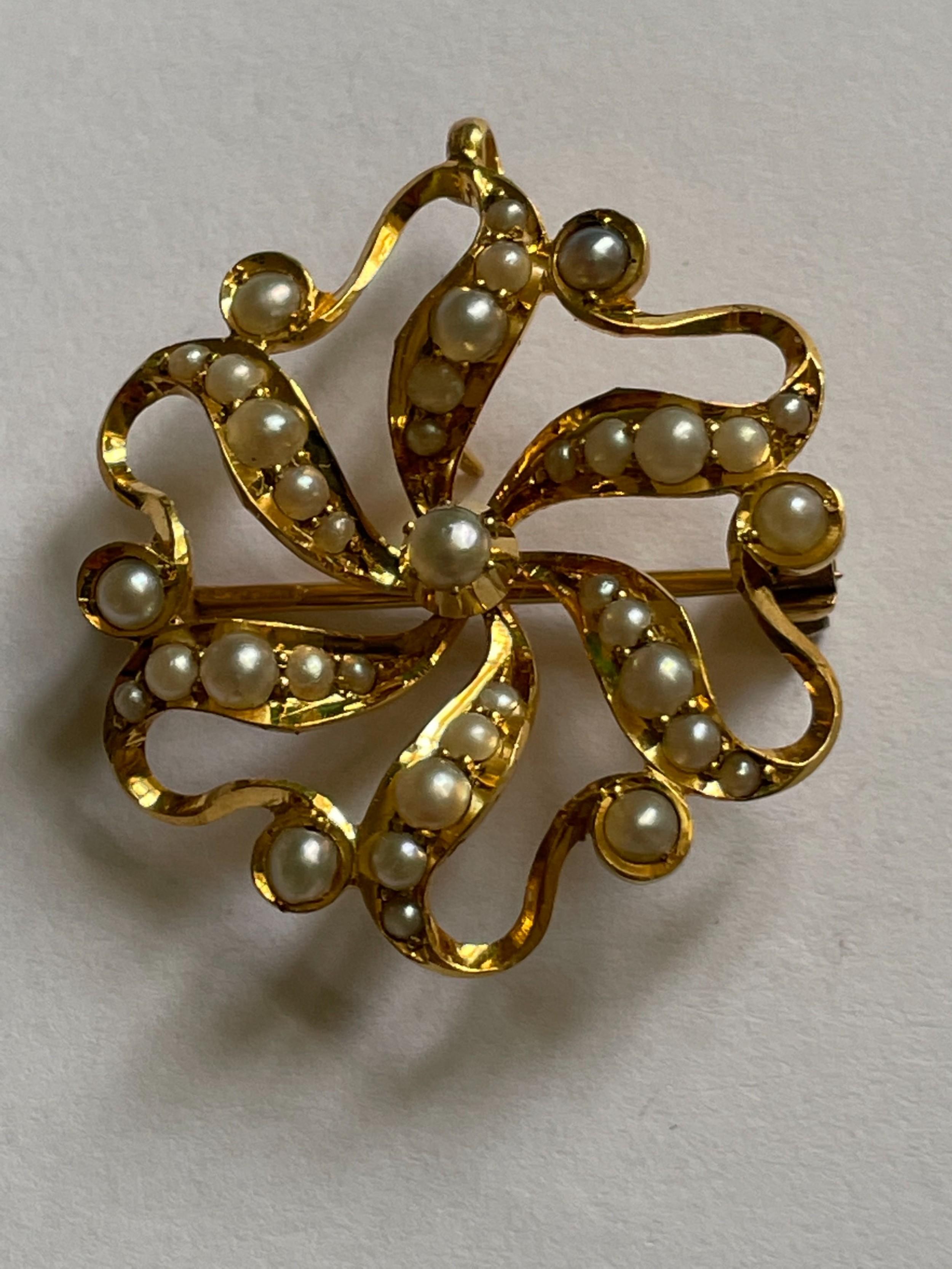 15ct victorian pearl pendant