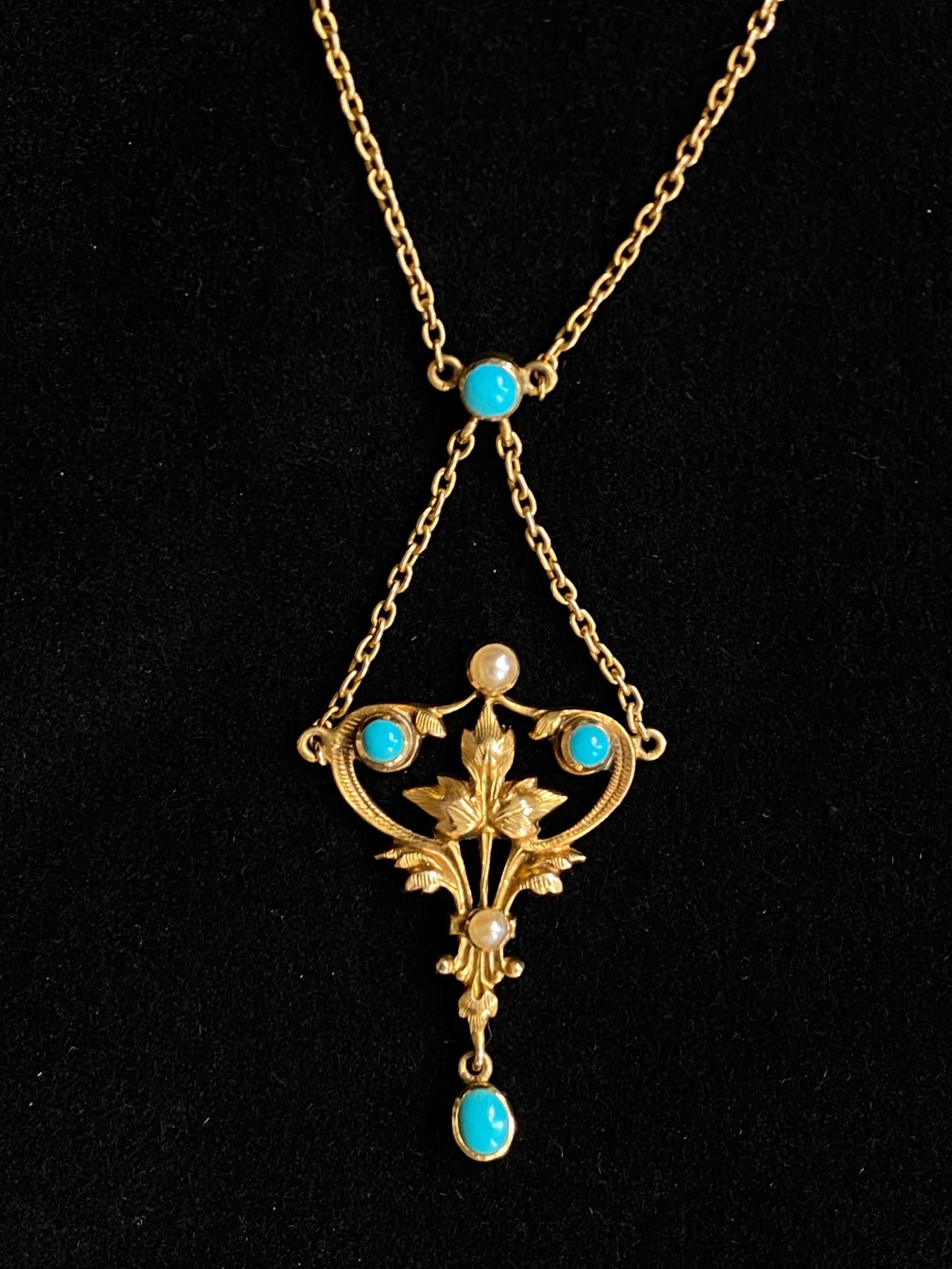 edwardian 15ct turquoise pendant
