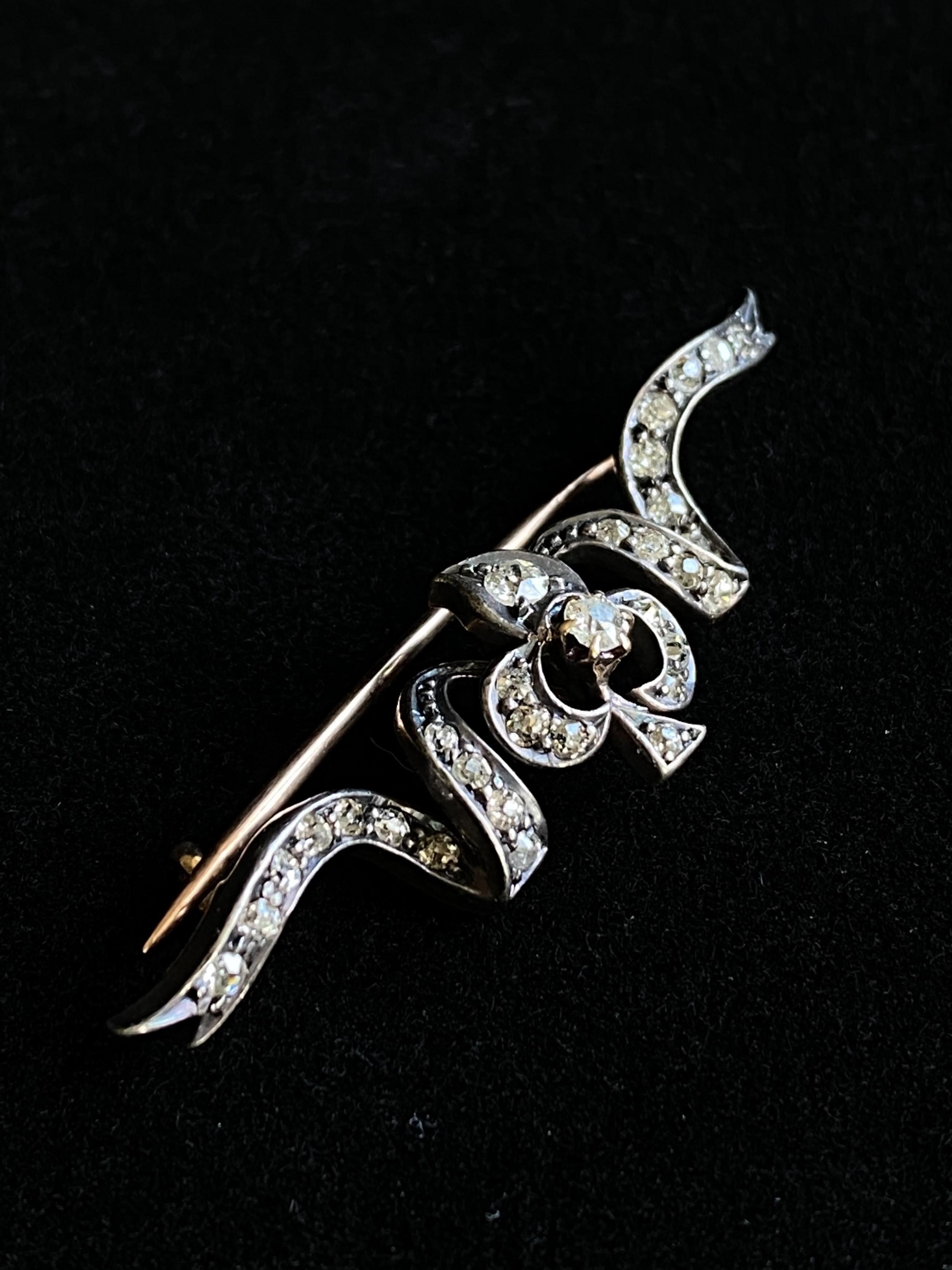 gold diamond clover leaf brooch