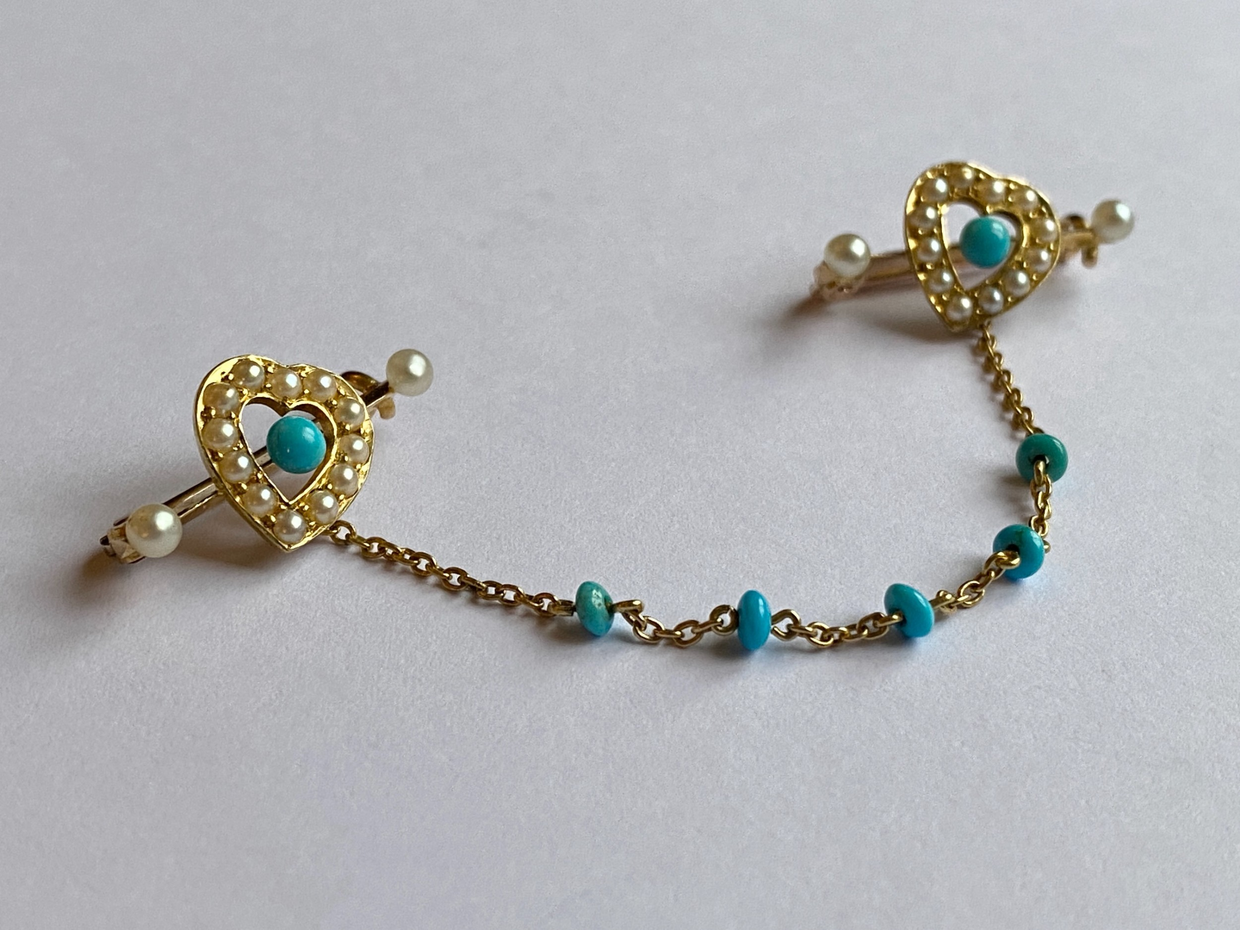 victorian pair turquoise pearl heart brooches