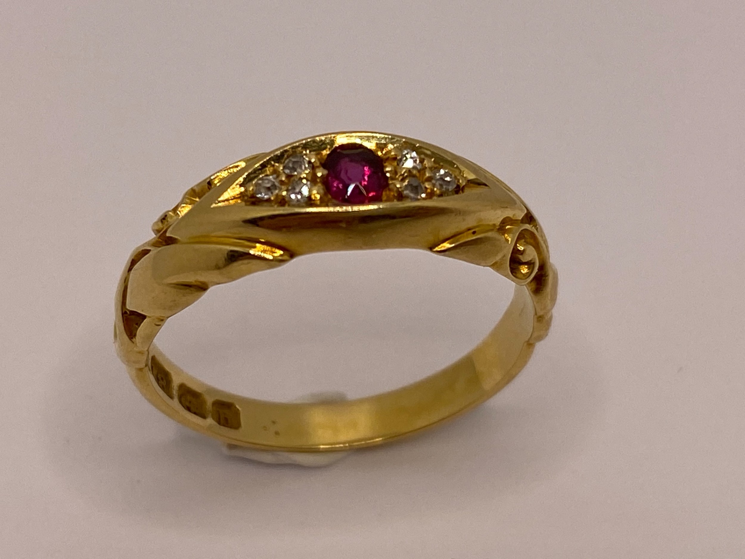 18ct ruby diamond gypsy ring