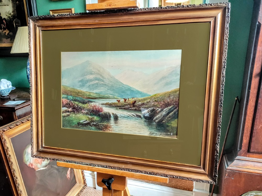 watercolour painting highland cattle by the river signed by albert milton drinkwater