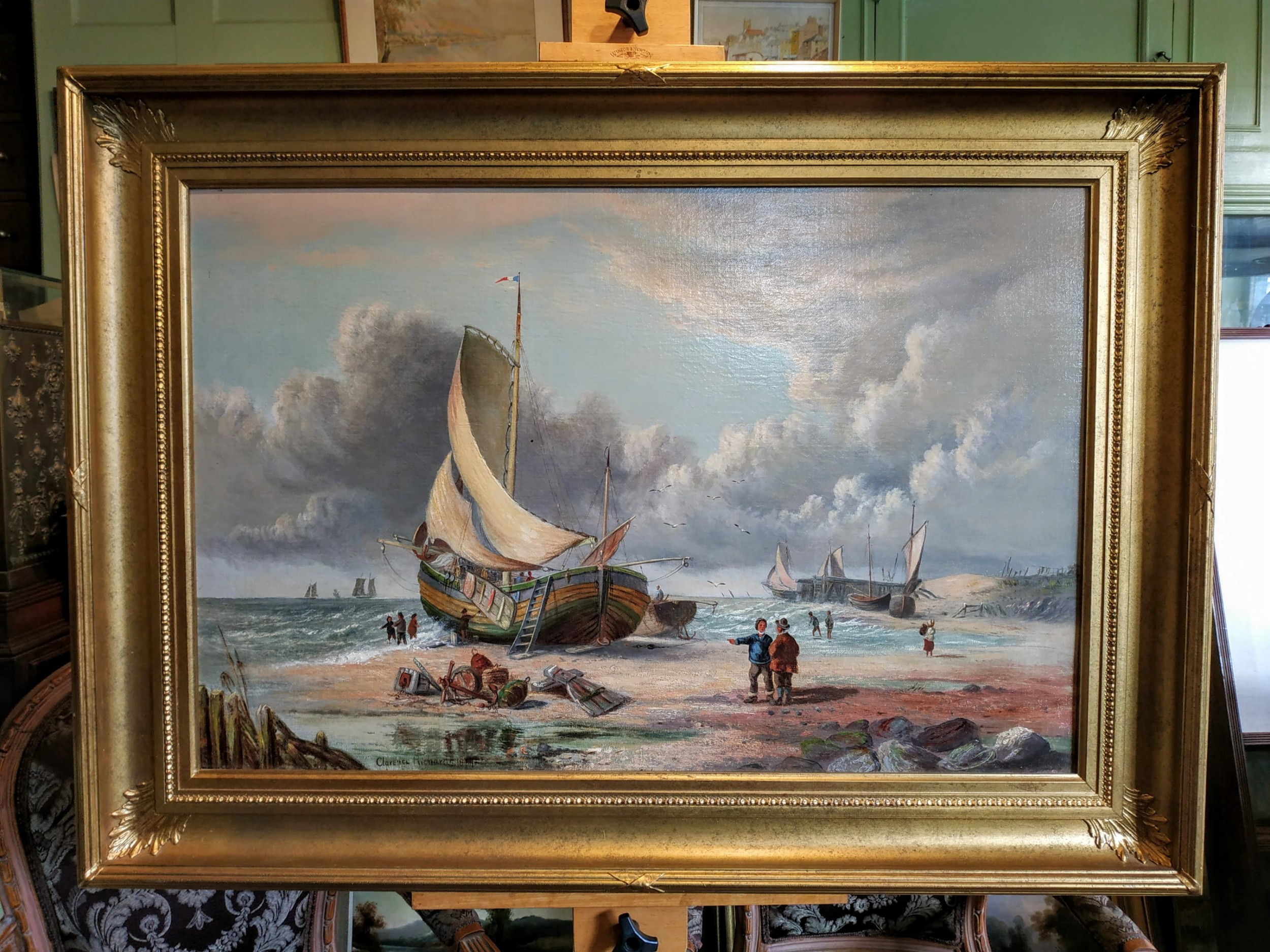 clarence richardson costal scene with figures on a beach oil painting on canvas