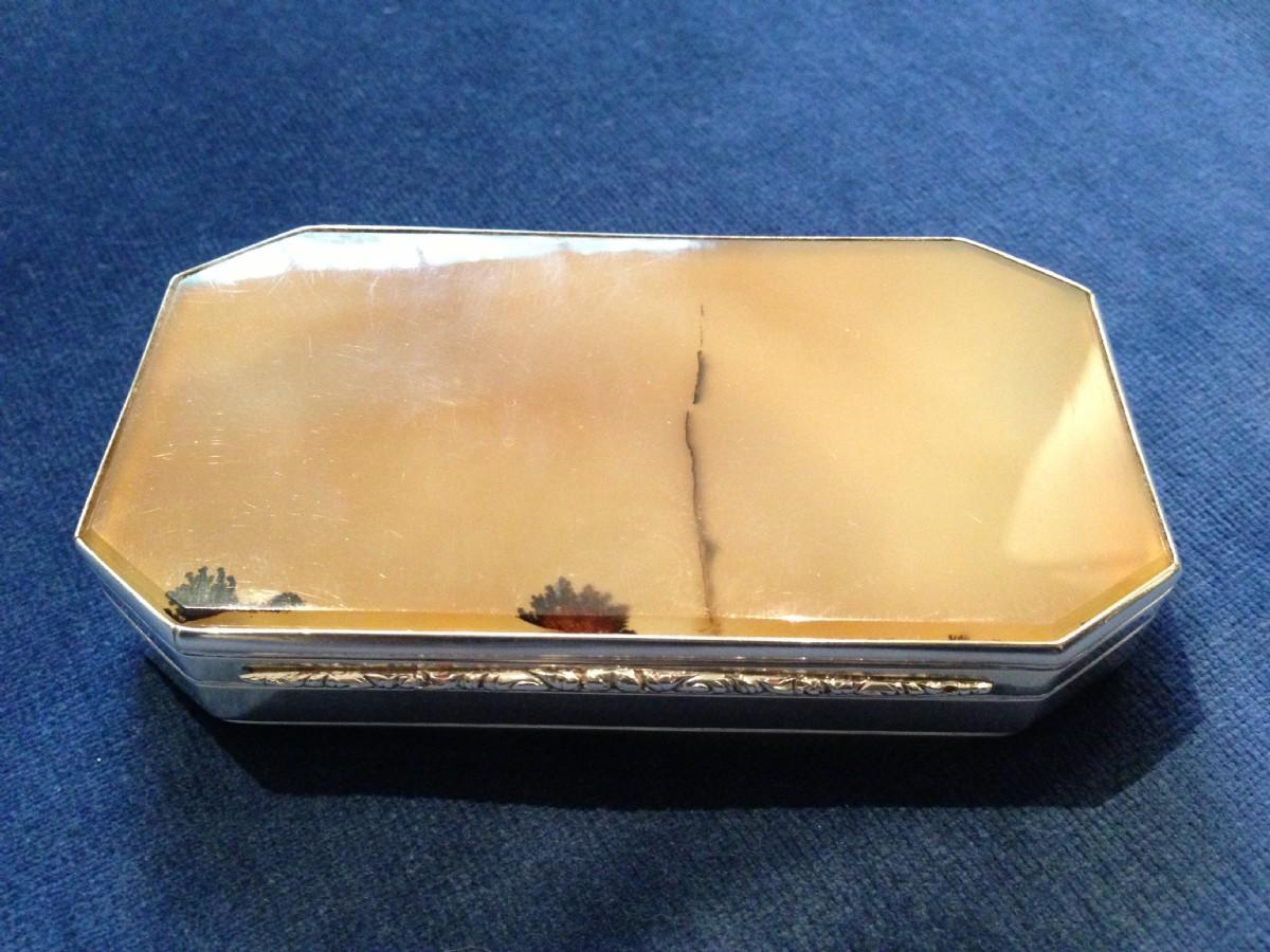 london 1837 edward edwards large william iv agate snuff box