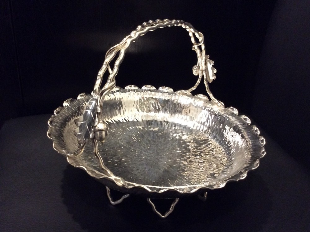 hukin and heath silver plate acorn basket