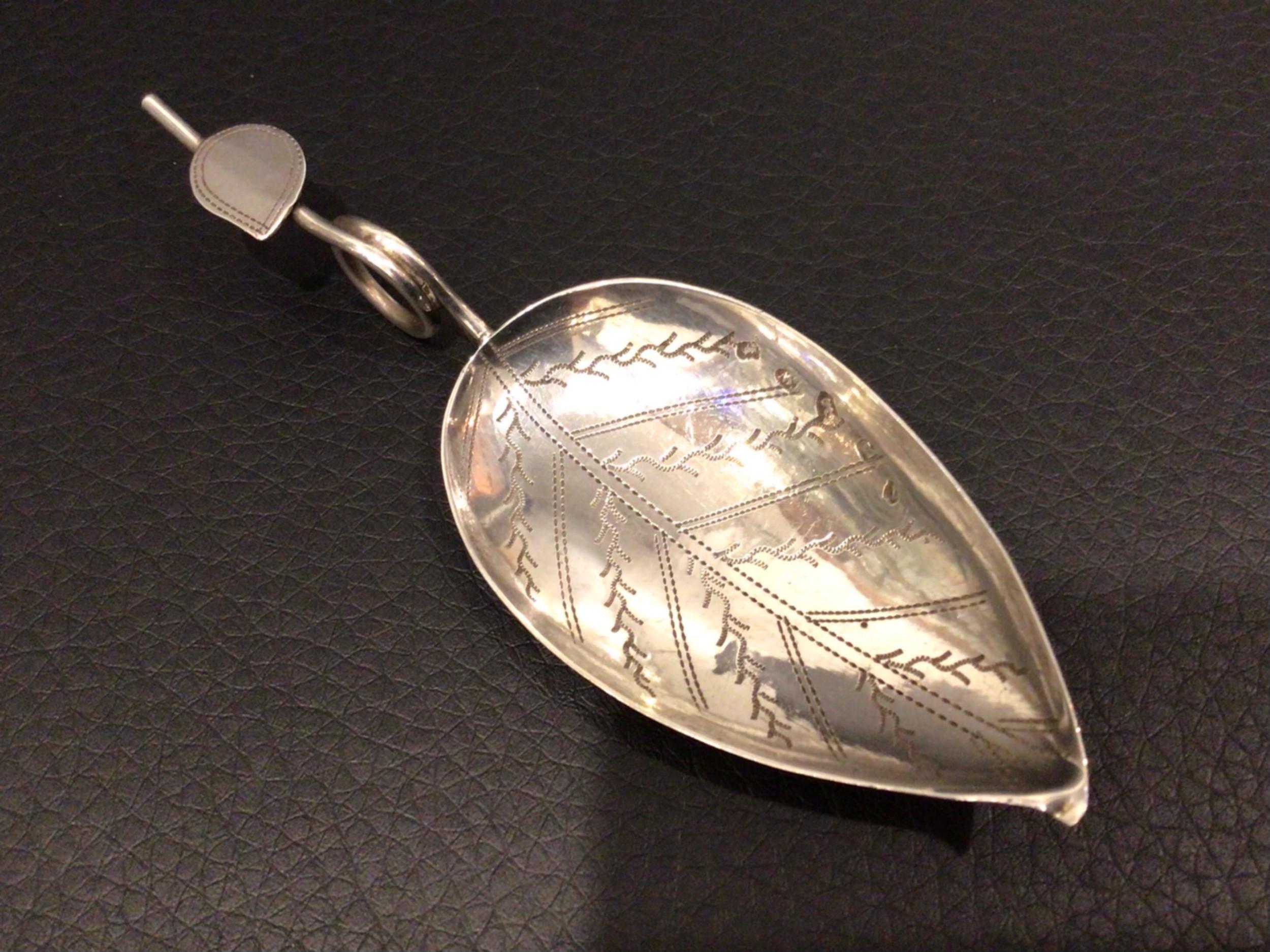 georgian 1804 silver tea leaf caddy spoon