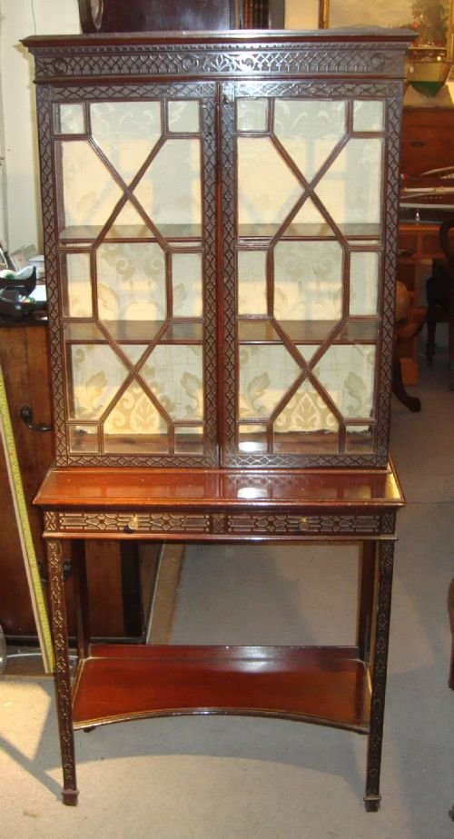 a victorian mahogany 'chippendale style' showcase cabinet - photo angle #2