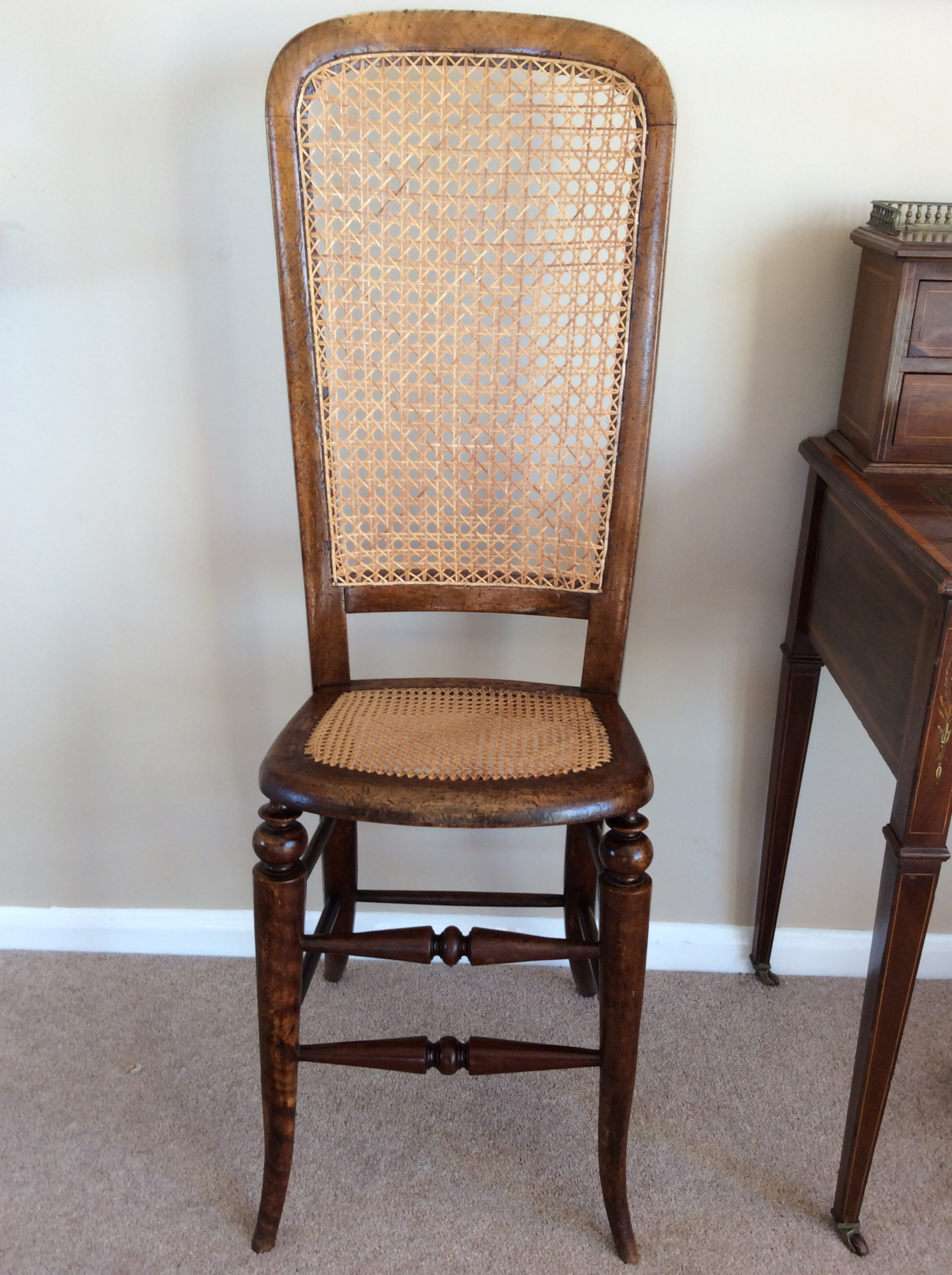 victorian correction chair with cane seat and back