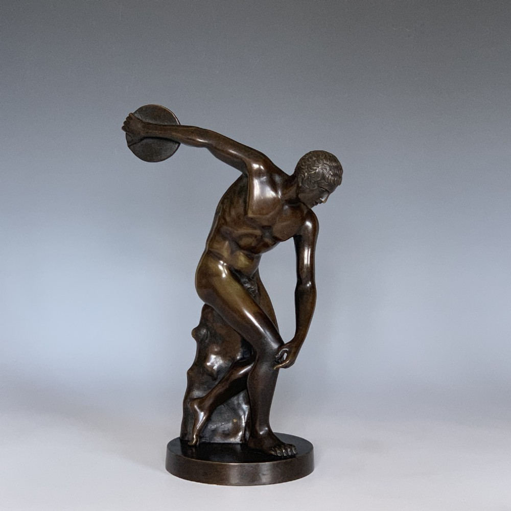 bronze grand tour style figure of the discus thrower discobolus of myron