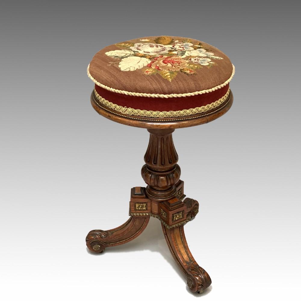 victorian walnut ormolu mounted piano stool