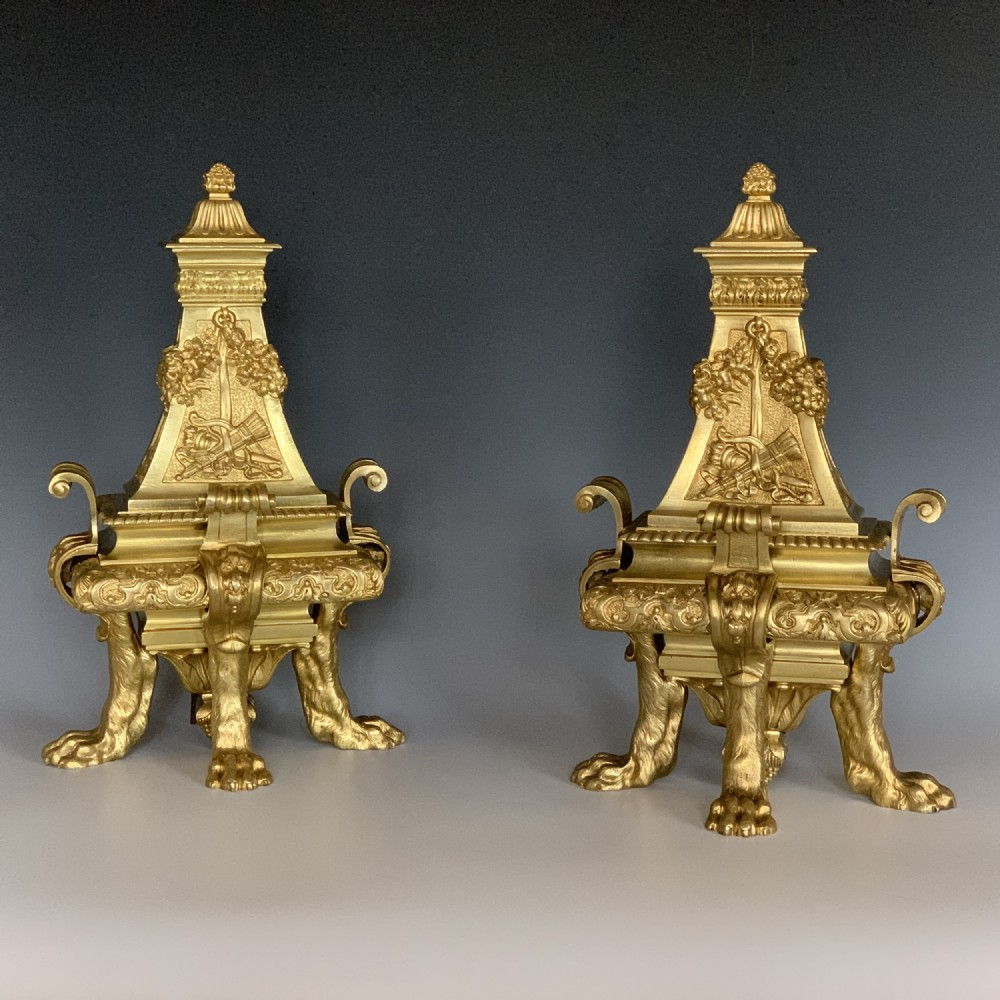 pair of antique victorian ormolu chenets