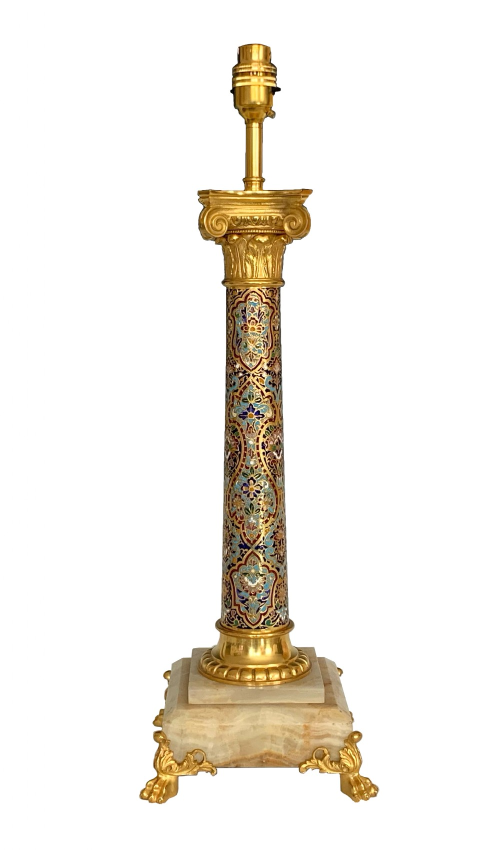 antique ormolu champleve table lamp
