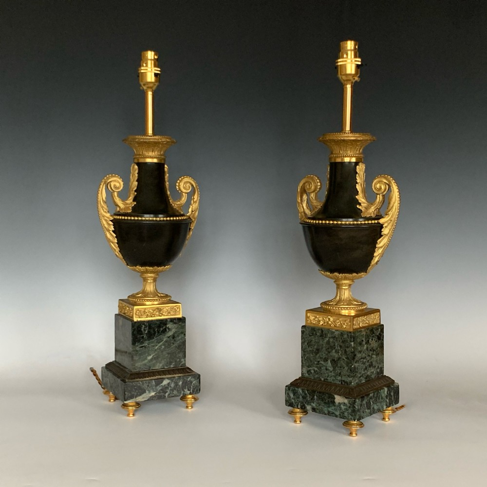 pair of louis xvi style 19th century gilt patinated bronze table lamps