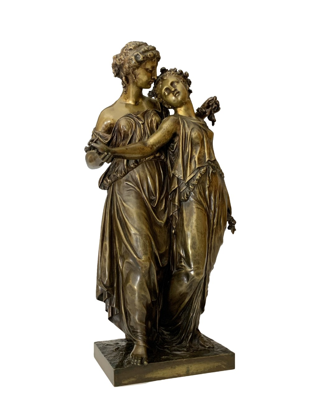 henry tienne dumaige antique bronze group two maidens