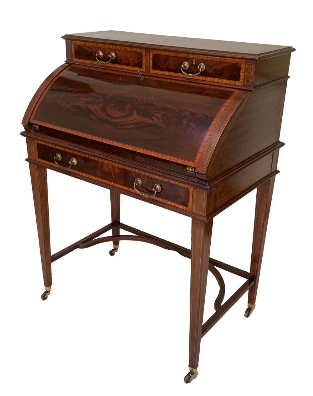 antique edwardian mahogany satinwood crossbanded bureau