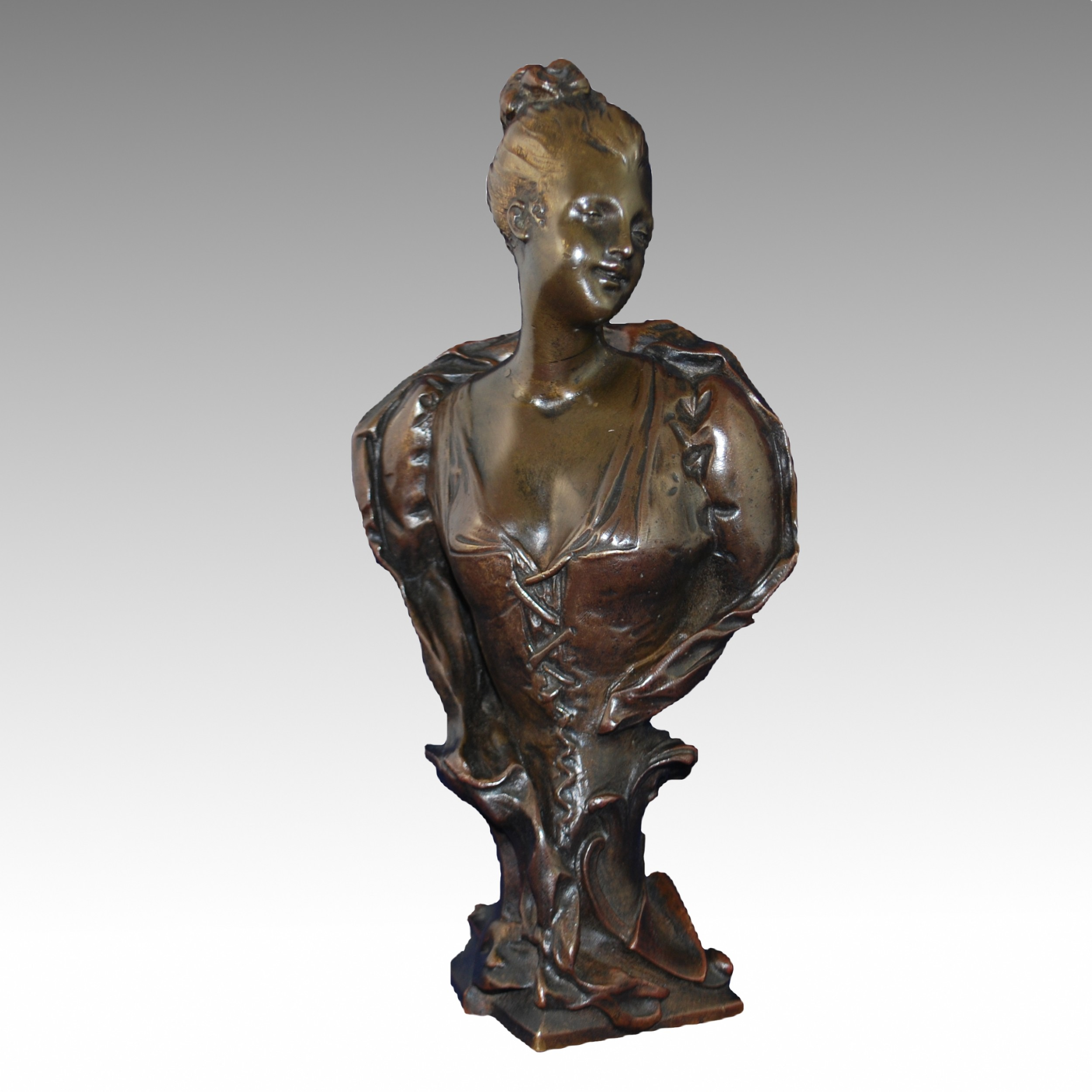 antique french bronze bust after emile laporte
