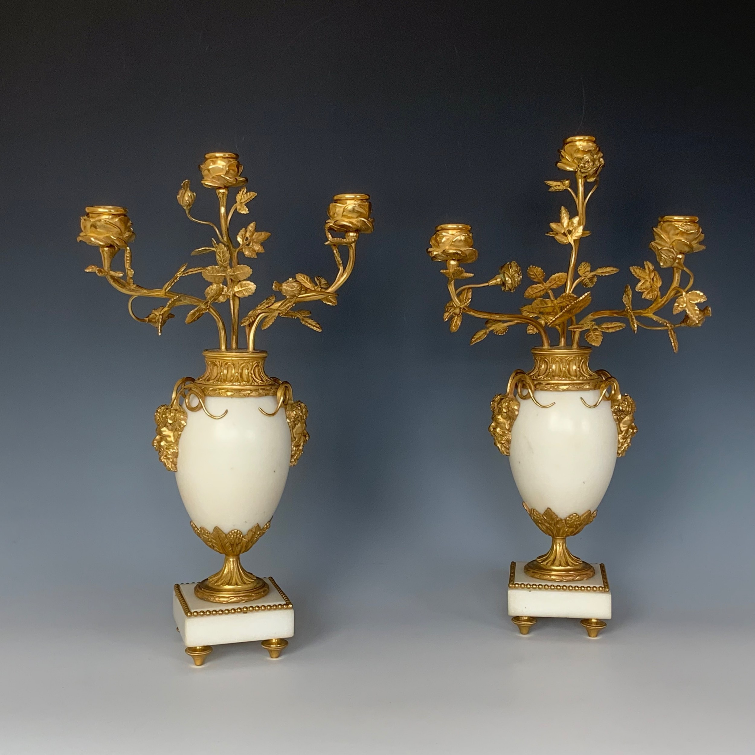 pair of french gilt bronze mounted candelabra louis xvi style