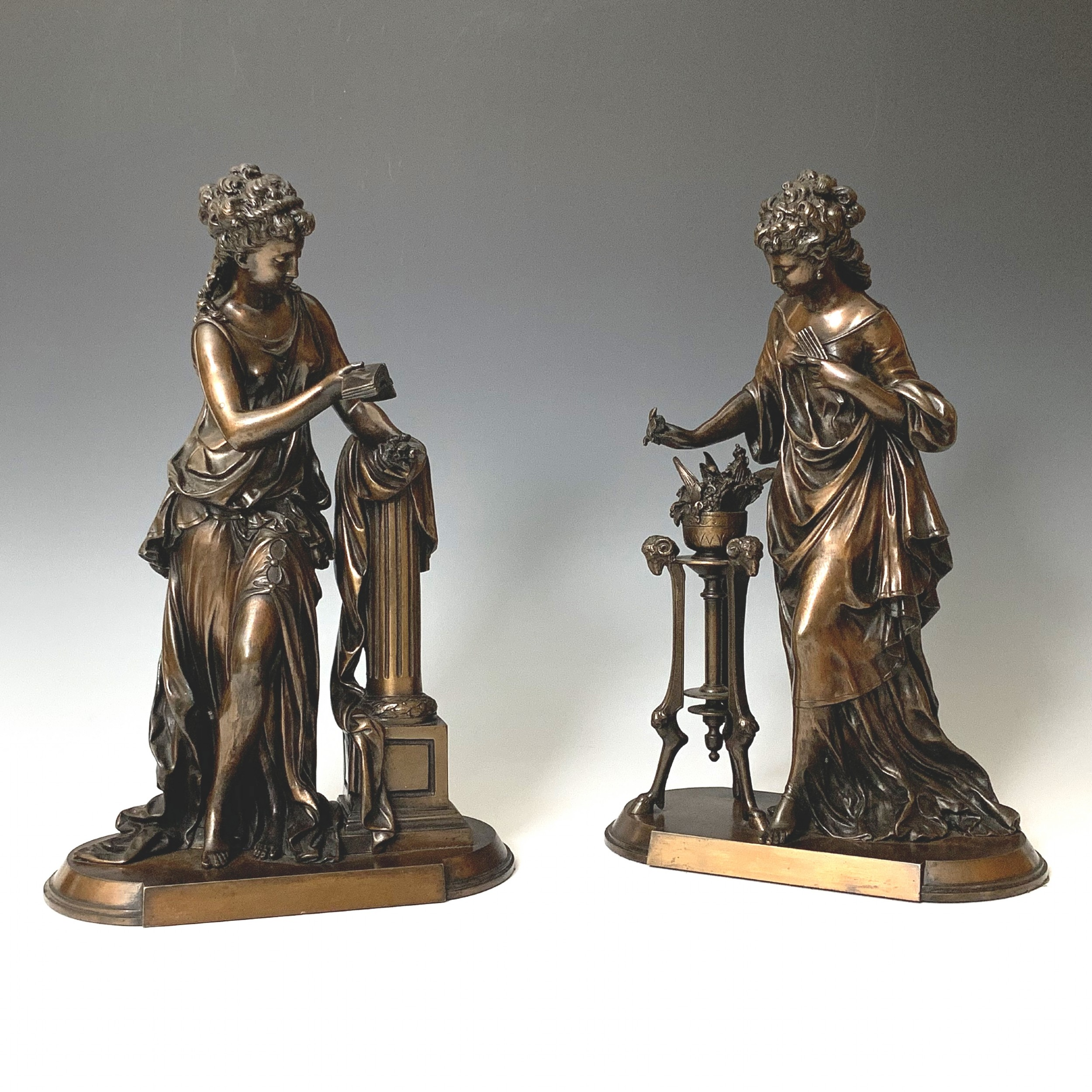 pair of classical female bronzes by mathurin moreau