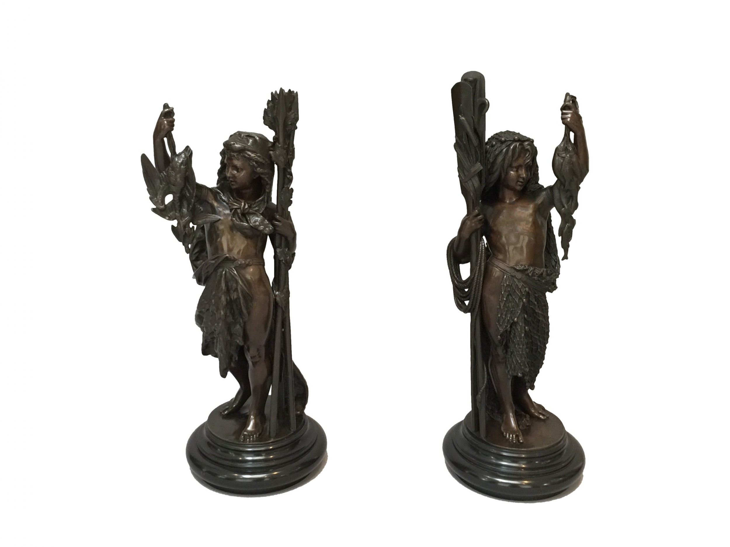 a fine pair of french bronzes after albert carrierbelleuse fisher boy companion