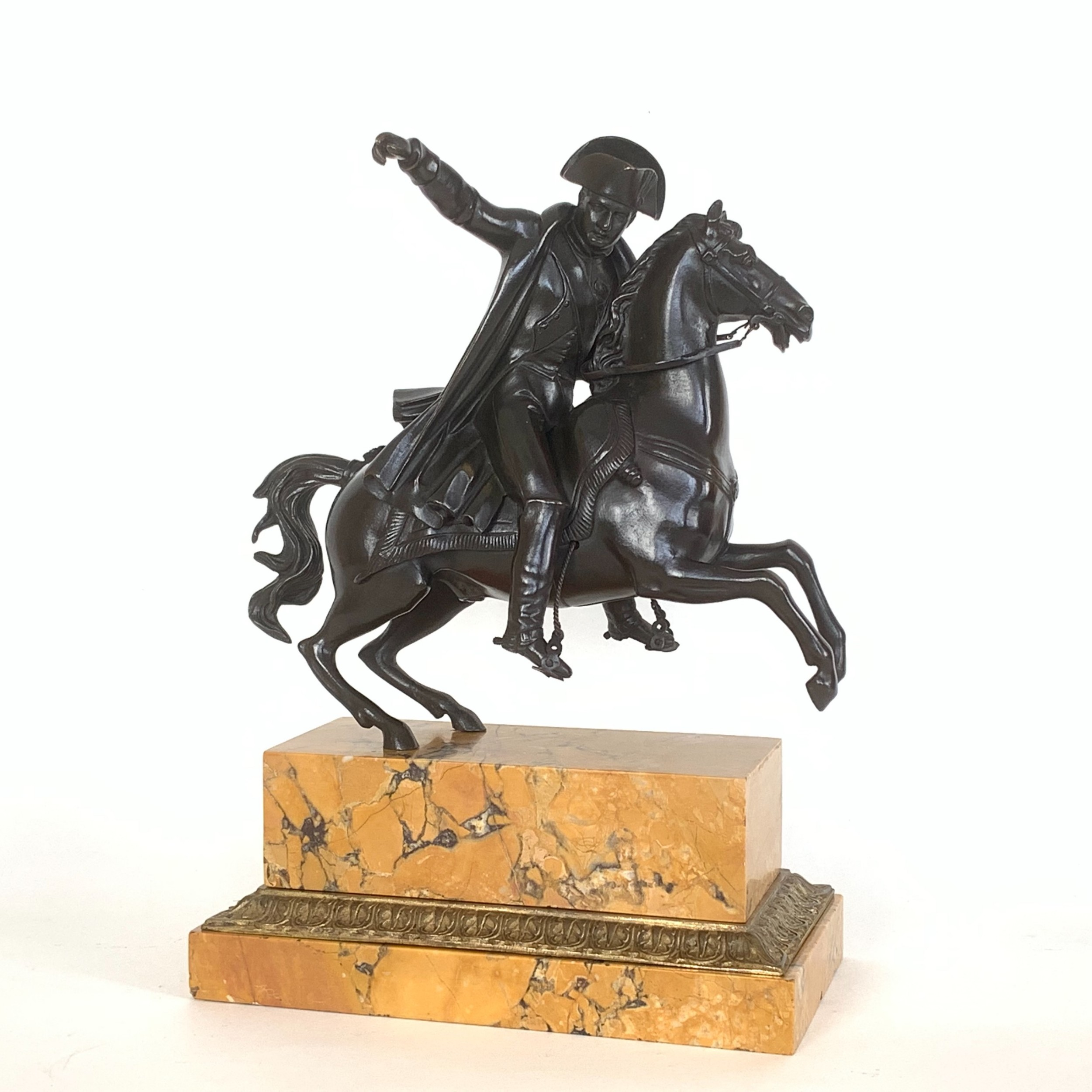 19th century french equestrian bronze sienna marble study of napoleon on horseback