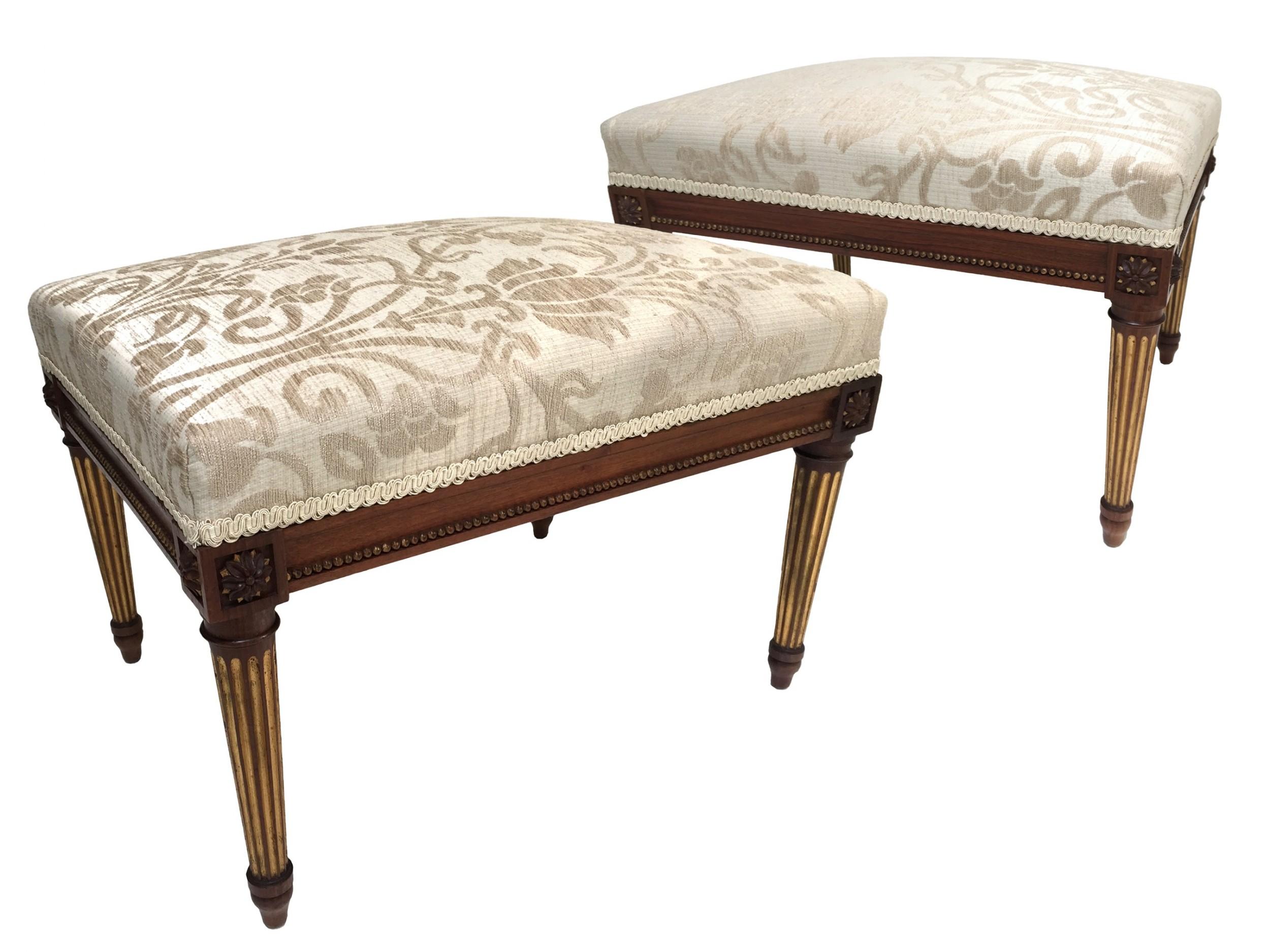 antique victorian pair of walnut parcel gilt stools louis xvi style