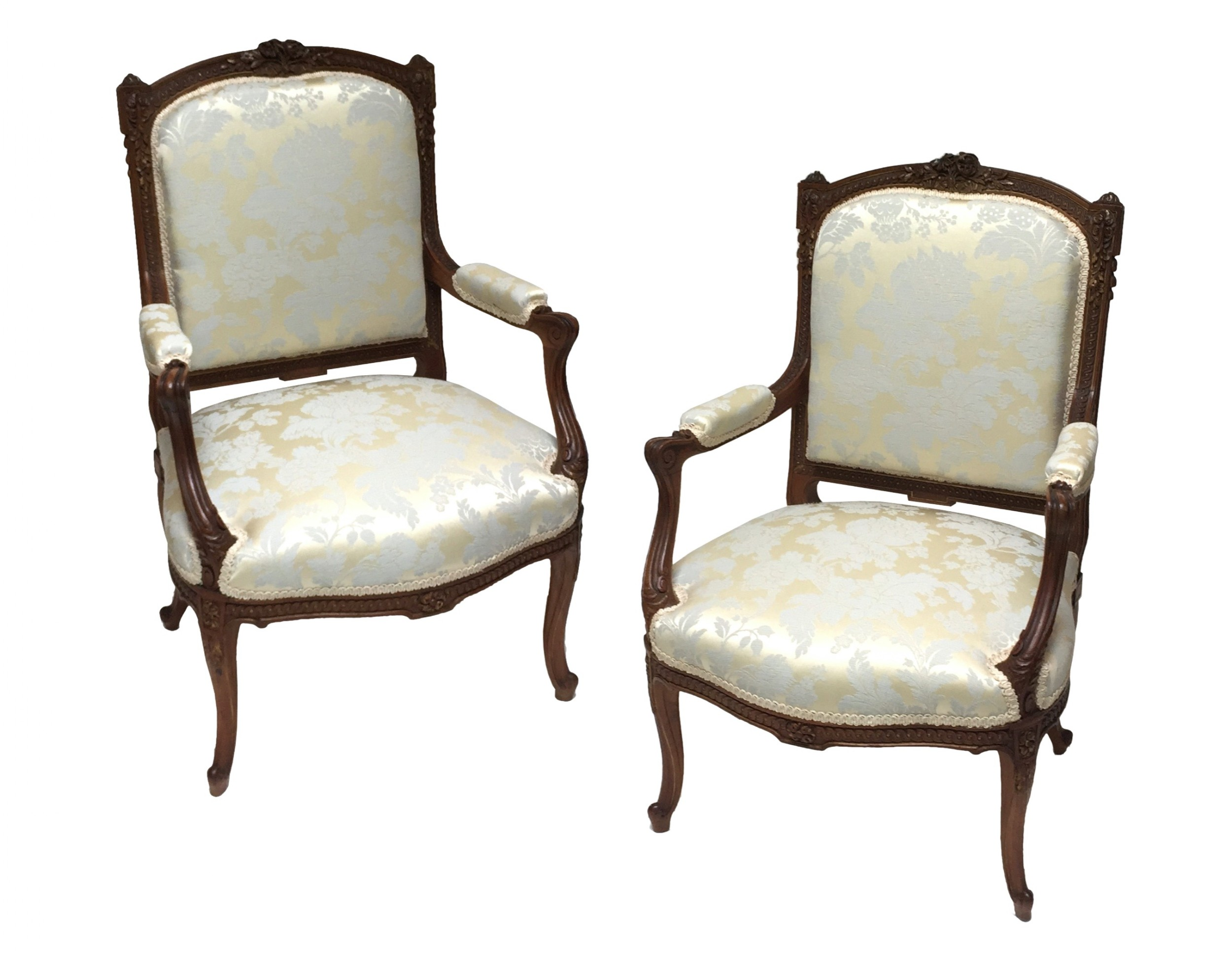 pair of french walnut parcel gilt armchairs louis xv style