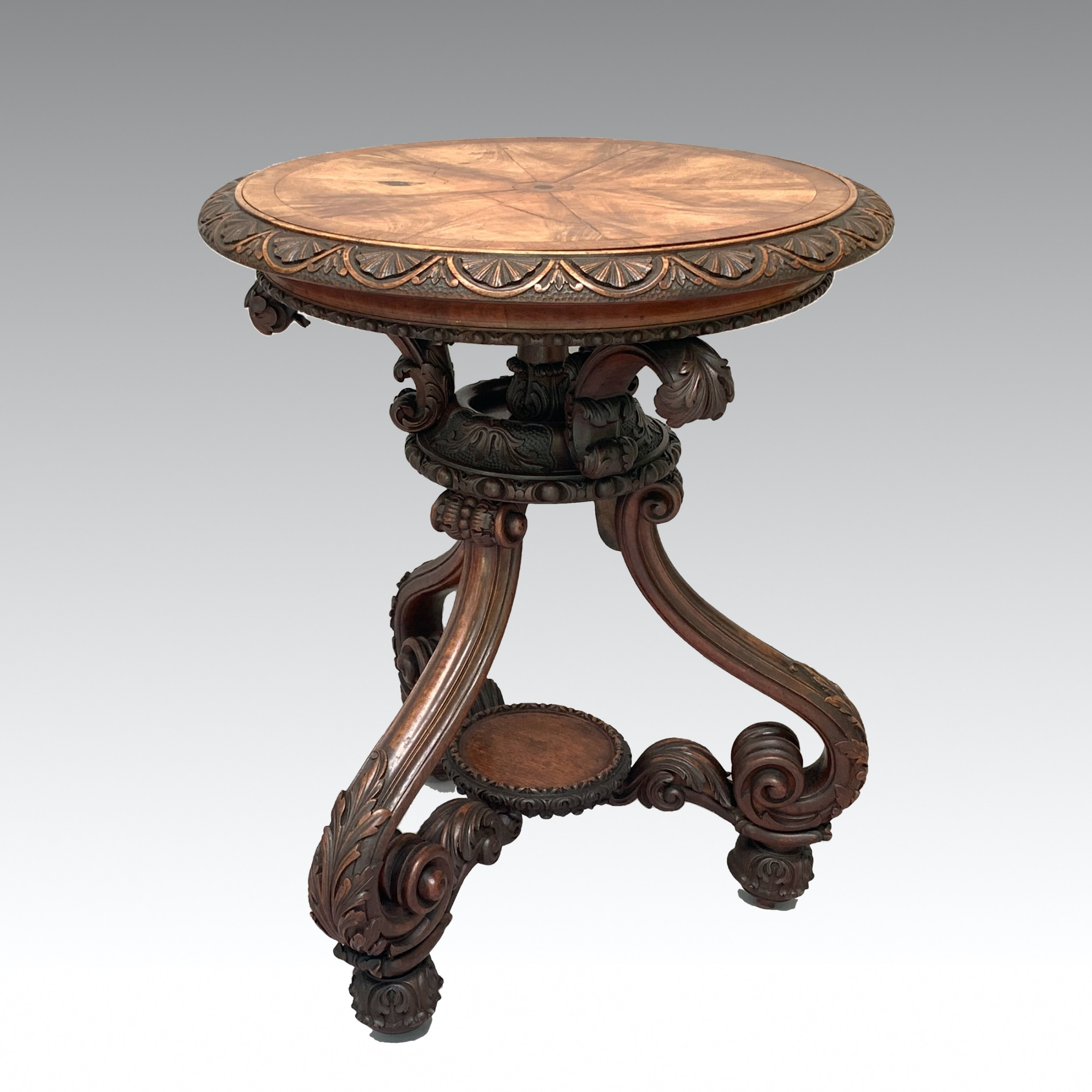 unusual mid 19th century carved walnut side table