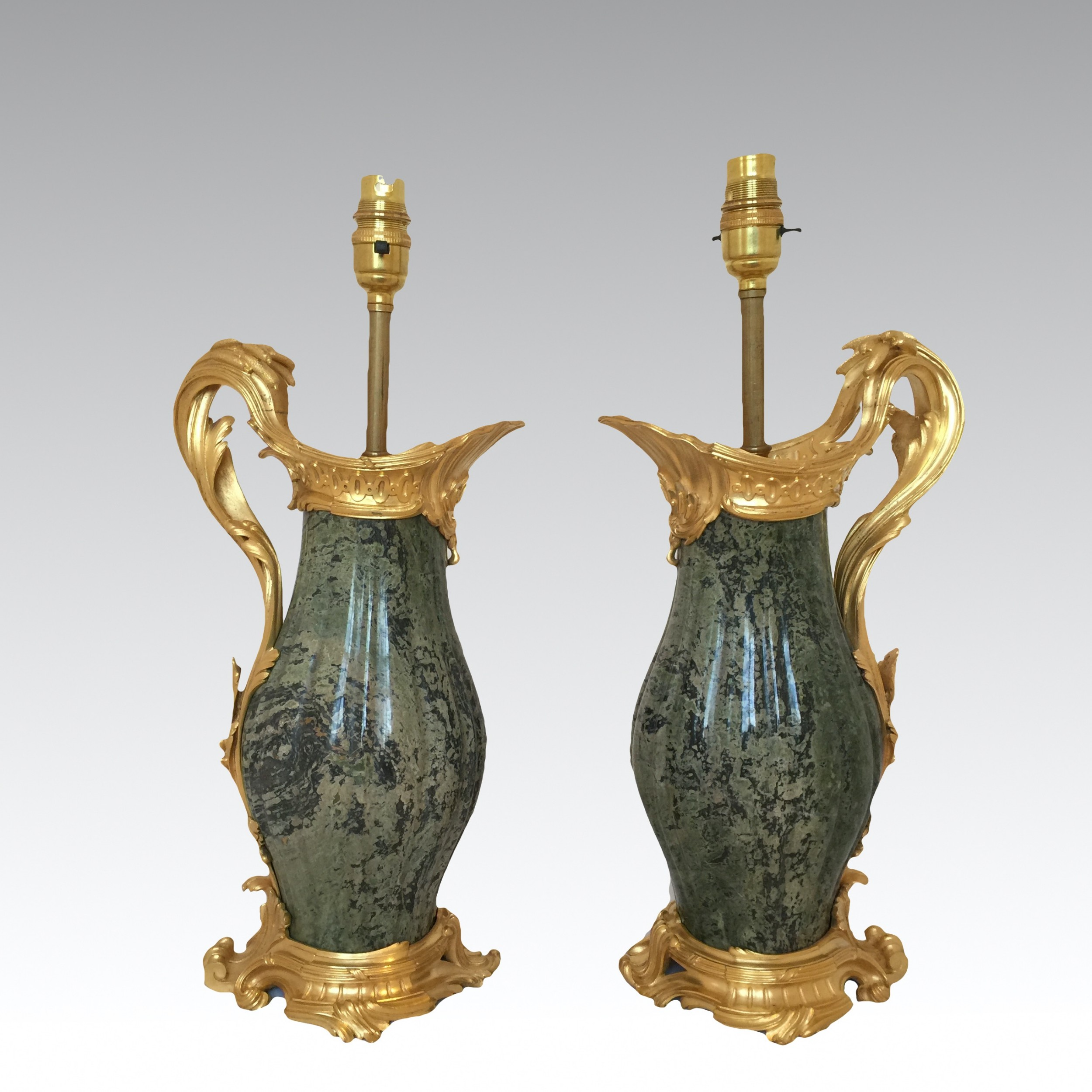 antique french gilt bronze marble louis xv style lamps attributed to paul sormani