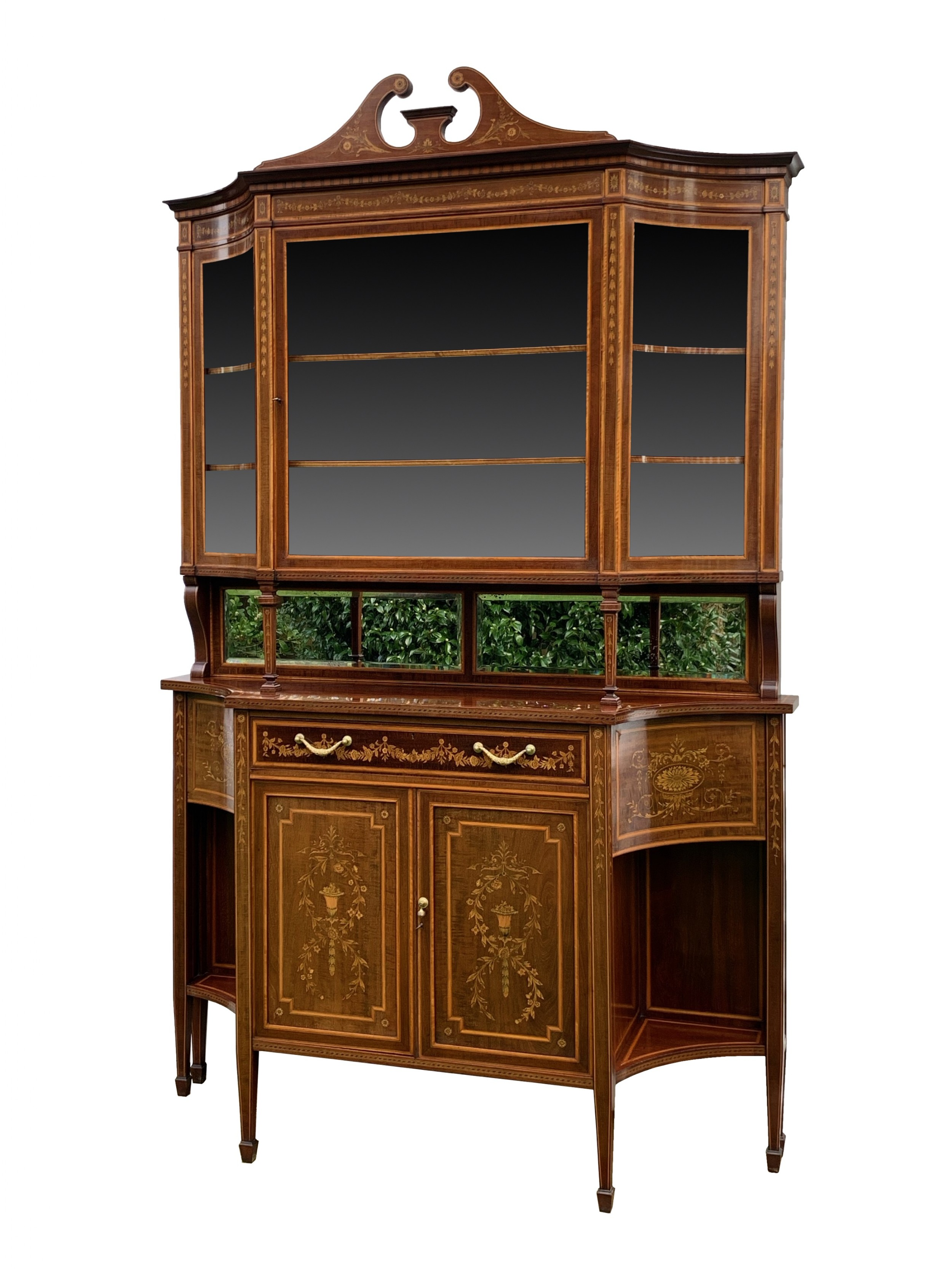 antique edwards roberts mahogany marquetry cabinet