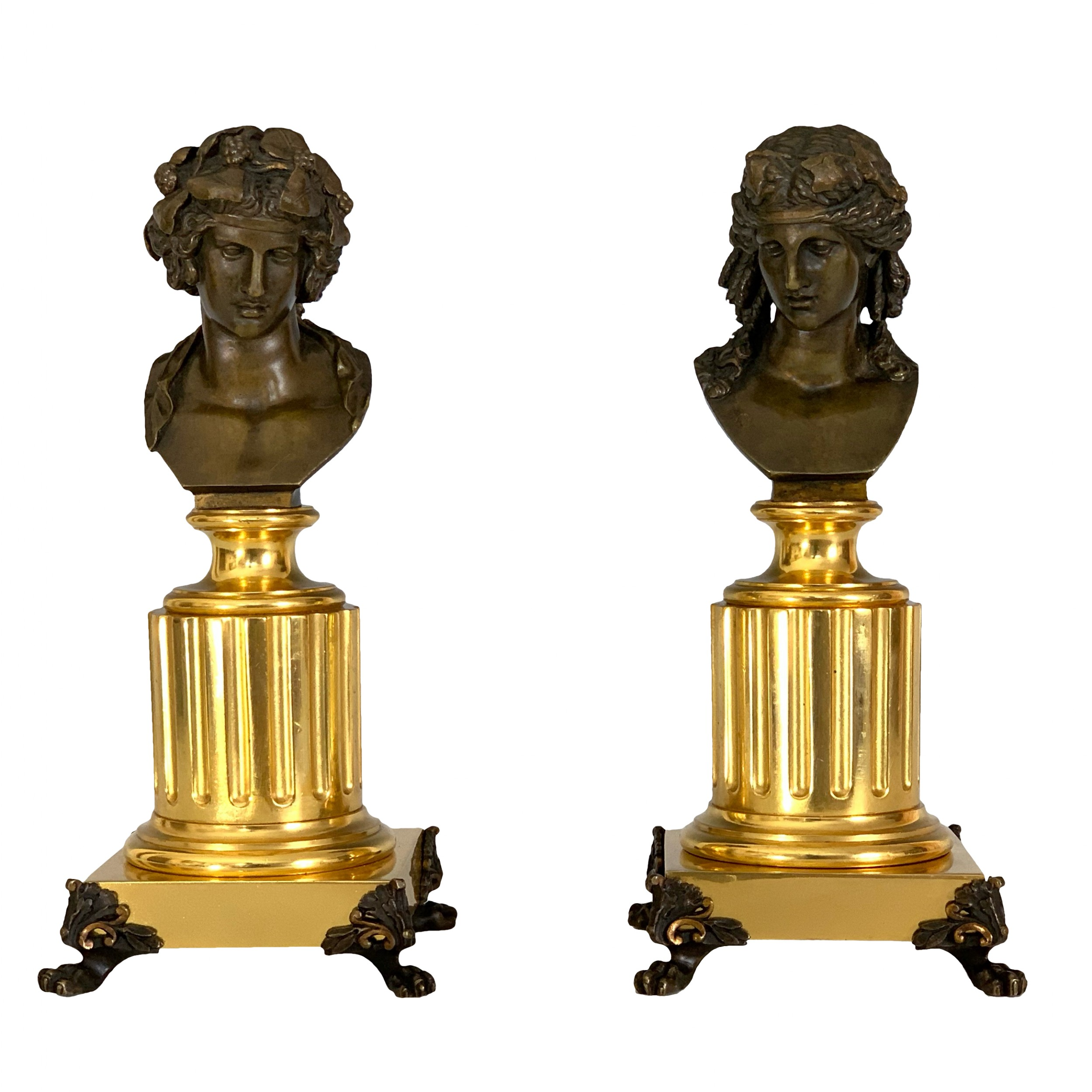 pair of french 'grand tour' apollo bacchus bronze busts