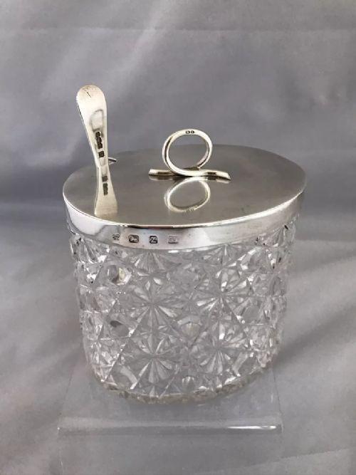 victorian silver cut glass preserve jar with spoon 1899 hukin heath