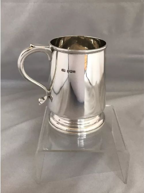 solid silver half pint beer mug 1933 sheffield henry atkin high quality 8 oz