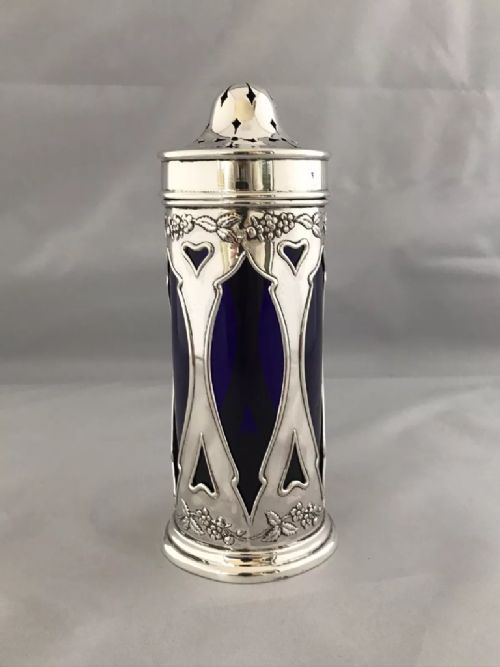 antique silver edwardian art nouveau sugar castor 1907 birmingham horace woodward