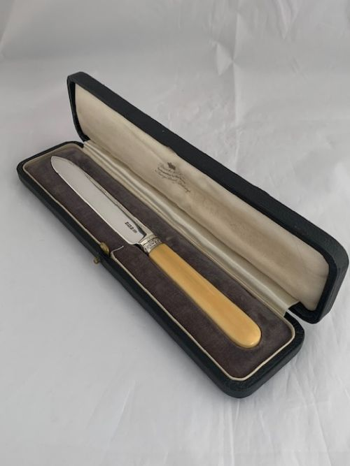 antique silver bone handled wedding cake knife 1917 sheffield sterling silver