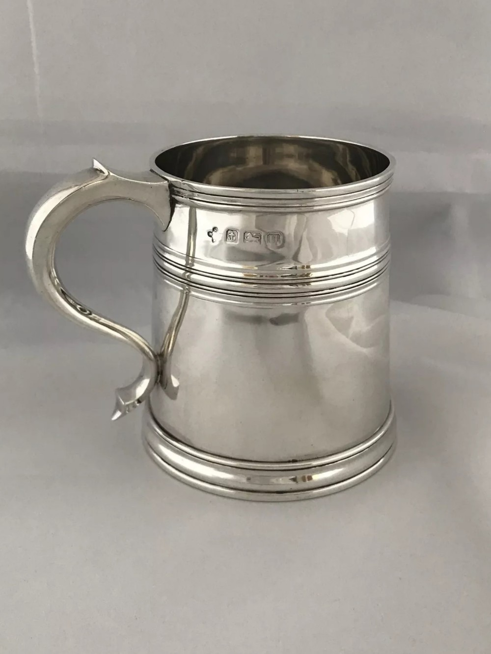 solid silver beer mug half pint 1919 horace woodward 315 grams