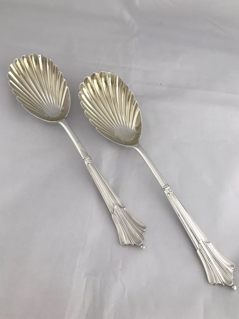 pair of victorian solid silver serving spoons 1889 sheffield