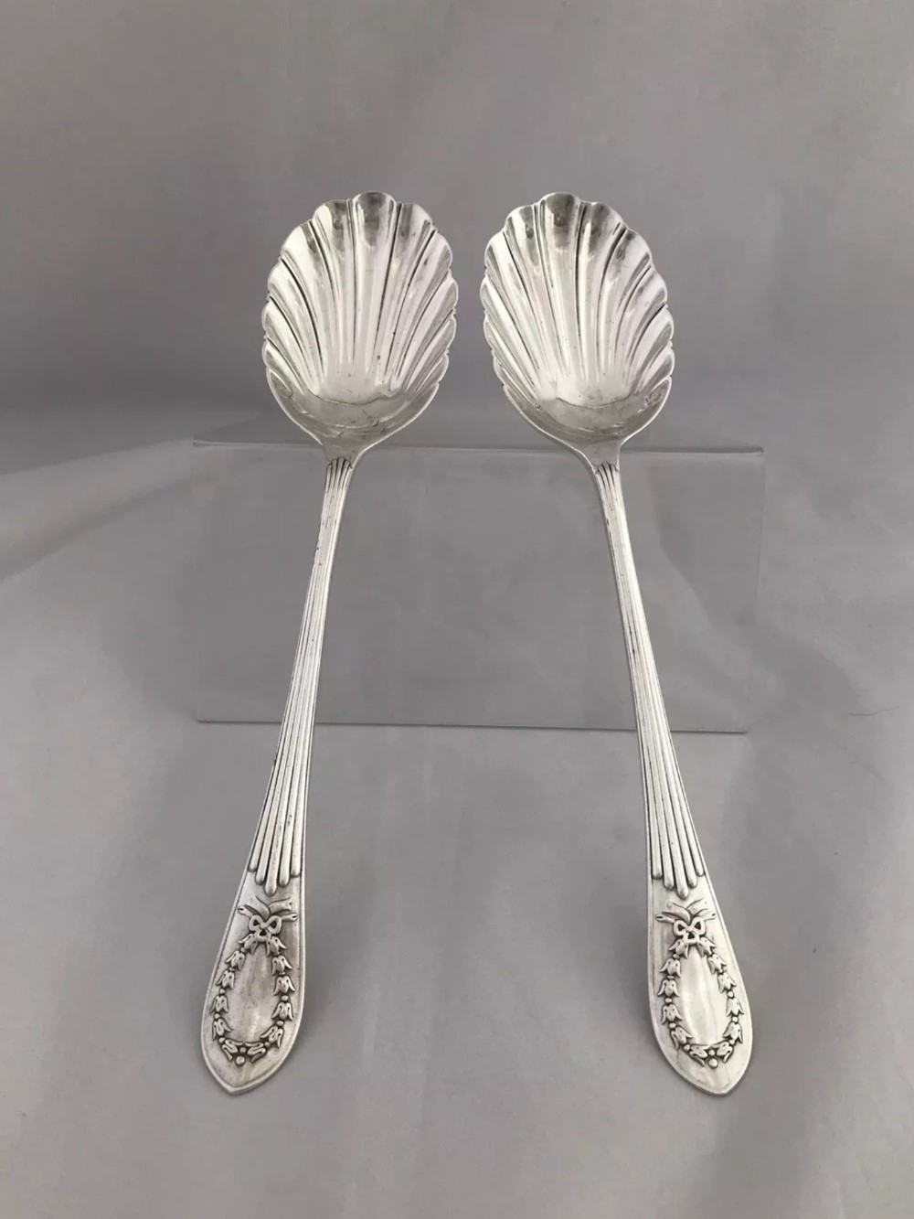 edwardian silver serving spoons 1908 london william hutton