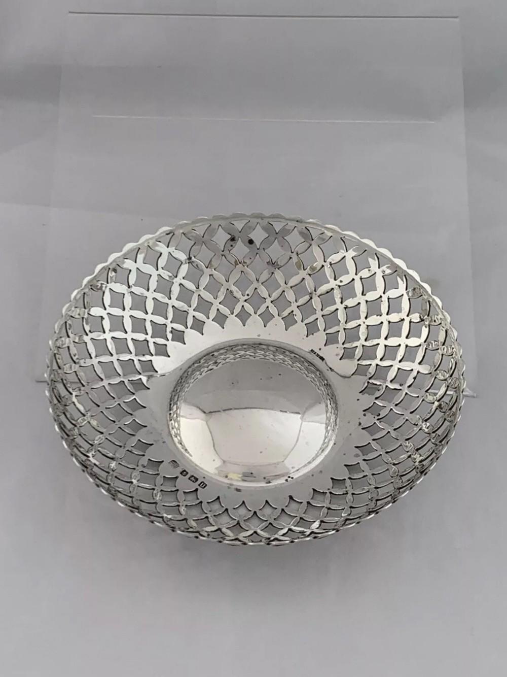 solid silver pierced bowl or dish 1919 birmingham a j zimmerman