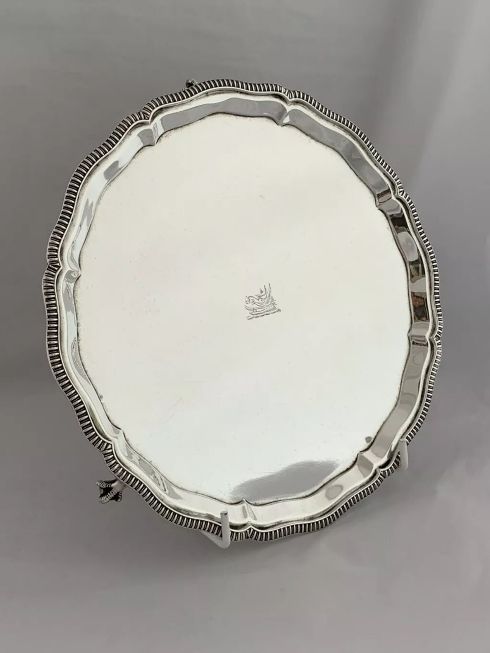 antique silver crested drinks tray salver 1928 sheffield mappin webb