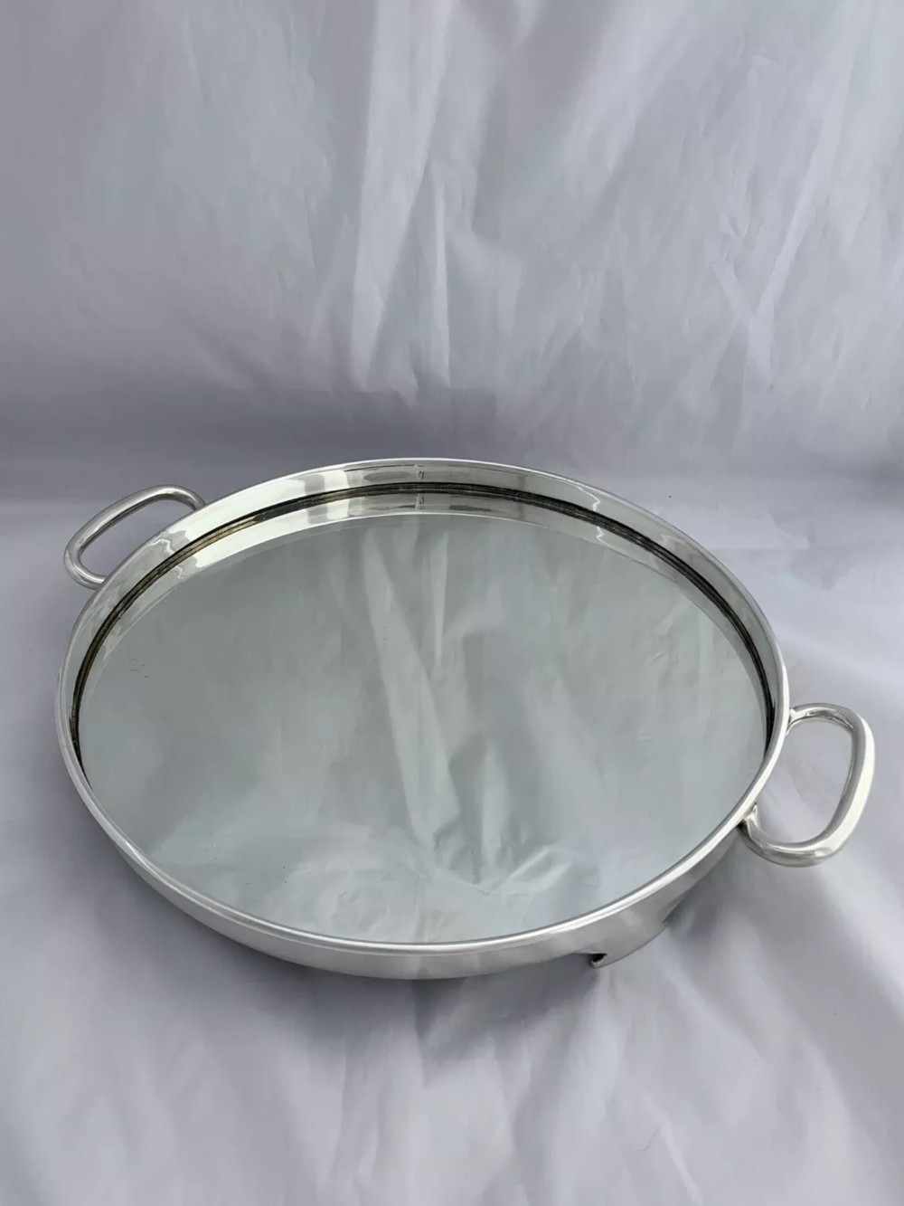 large art deco solid silver mirrored drinks tray 1937 sheffield emile viner