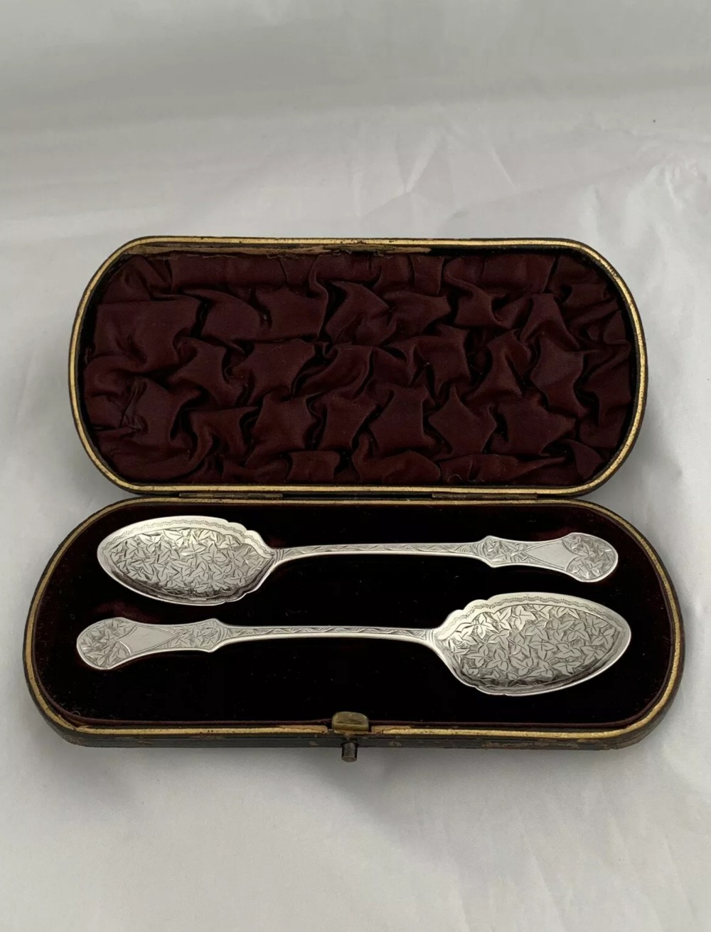 victorian solid silver preserve or jam spoons 1845 london
