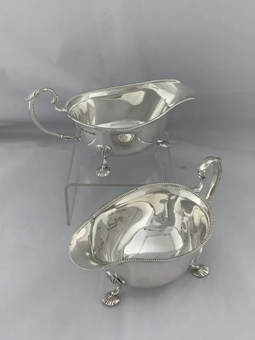 pair of sterling silver sauceboats or gravy boats 1936 birmingham a e poston