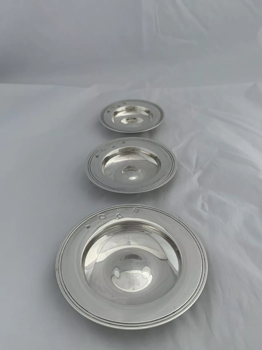 set of 3 solid silver armada dishes or bowls 1969 london william comyns
