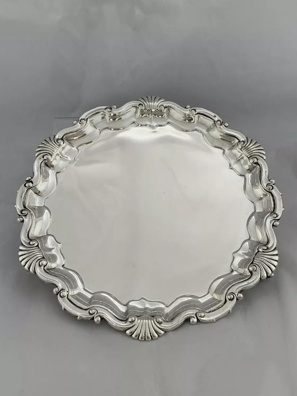 antique silver 21cm drinks tray salver 1901 london goldsmiths silversmiths
