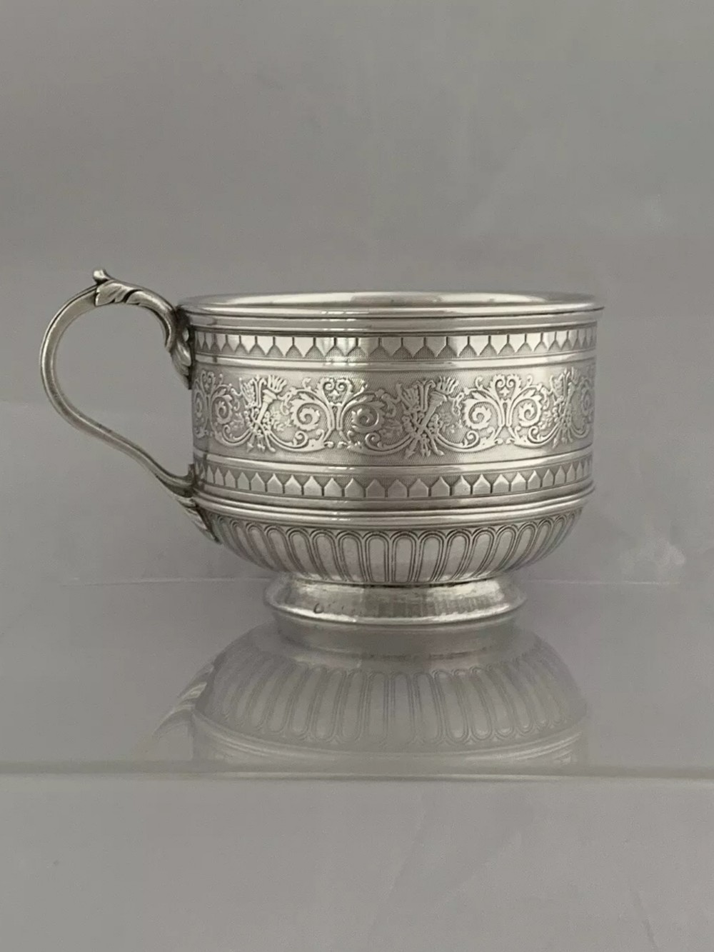 antique silver french victorian era coffee cup circa 1880 paris sterling large