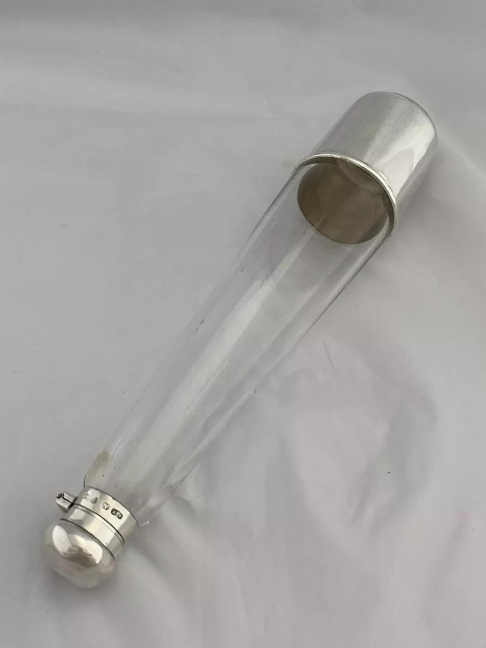 large victorian silver hunting flask beaker 1894 birmingham hip flask