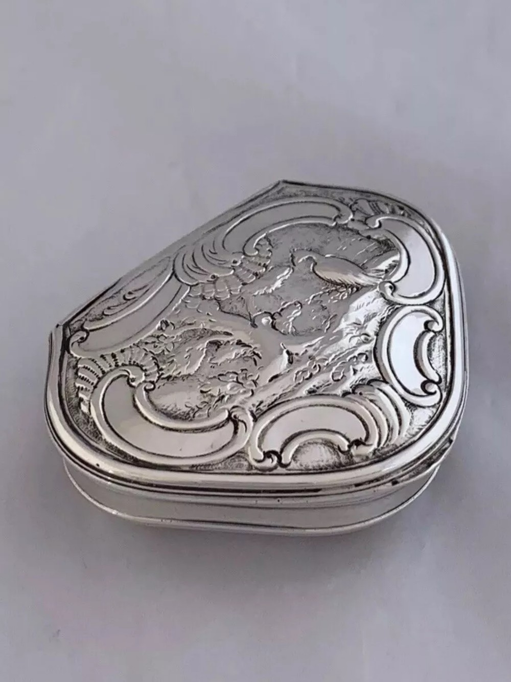 antique silver george ii cartouche shape box 1745 london robert collier