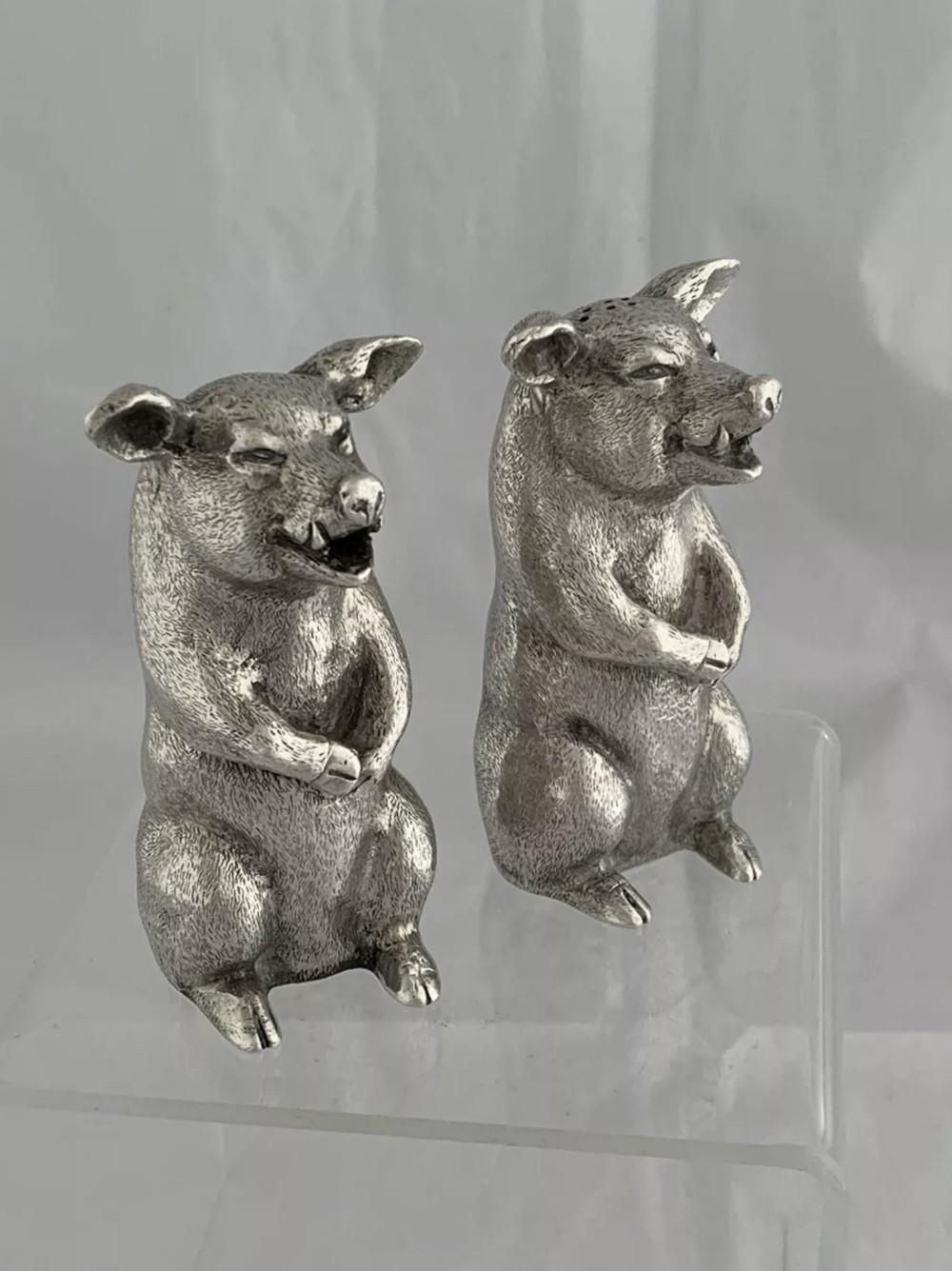 large solid silver salt pepper pot pigs or hogs 1962 london edward barnard