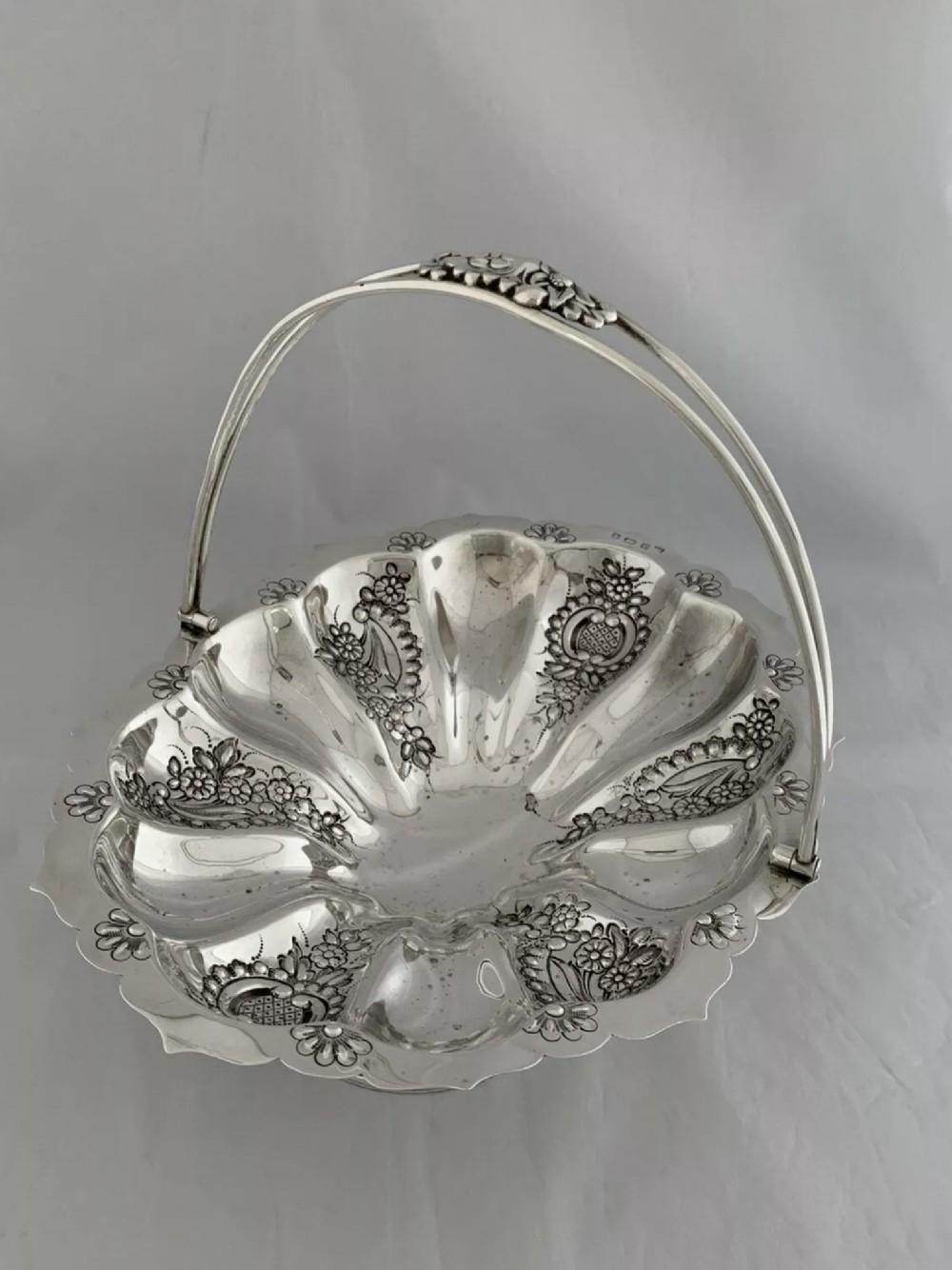 edwardian antique silver swing handle fruit bowl or basket 1905 birmingham