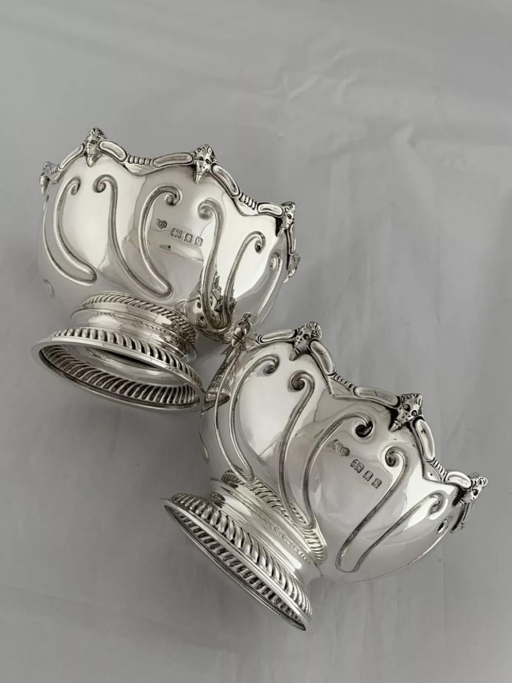 large antique silver pair of dessert bowls 1930 london gold silversmiths ltd